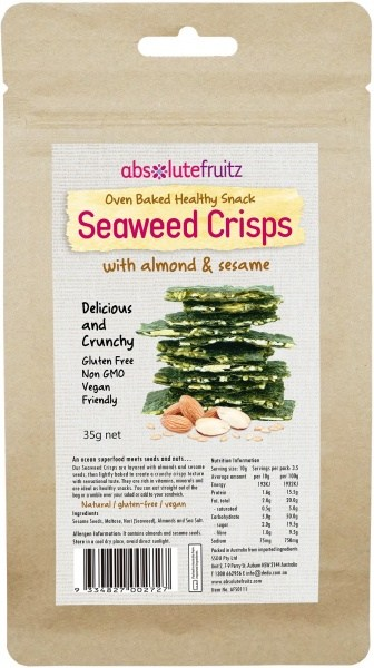 Absolute Fruitz Seaweed Crisps Almond & Sesame 35g
