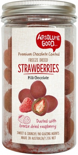 Absolute Good Milk Choc Coated Strawberries with Raspberry 120g