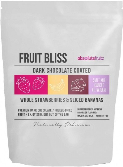 Absolutefruitz Fruit Bliss Dark Chocolate Coated Whole Strawberries &  Bananas 110g