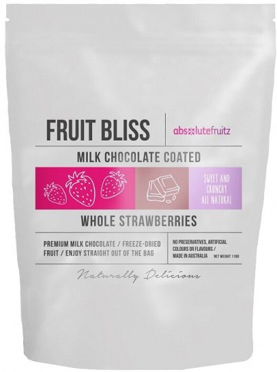 Absolutefruitz Fruit Bliss Milk Chocolate Coated Whole Strawberries 110g
