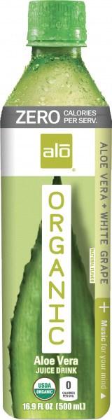 ALO Organic Zero Aloe Vera & White Grape  500ml x 12