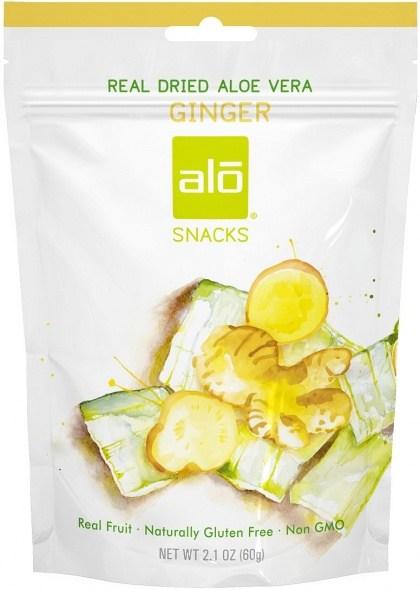 Alo Snacks Dried Aloe Vera & Ginger  60g