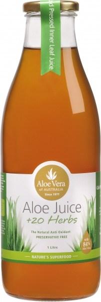Aloe Vera Aloe Juice +20 Australian Herbs (Glass) 1L