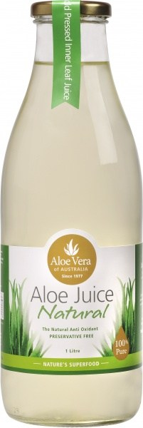 Aloe Vera Aloe Juice Natural 100% Pure Preservative Free (Glass) 1L