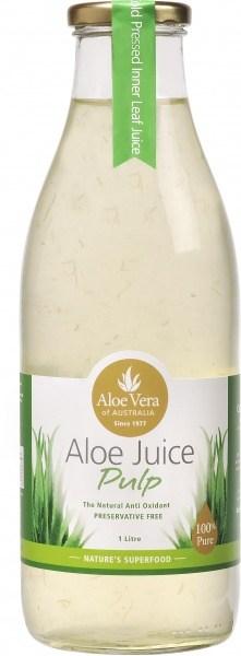 Aloe Vera Aloe Juice Pulp 100% Pure Preservative Free (Glass) 1Lt