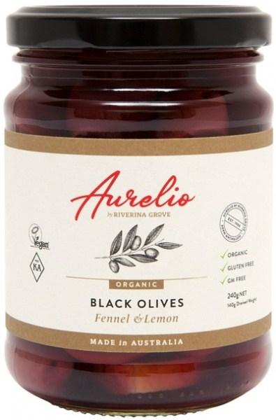 Aurelio Organic Black Olives Fennel & Lemon  240g