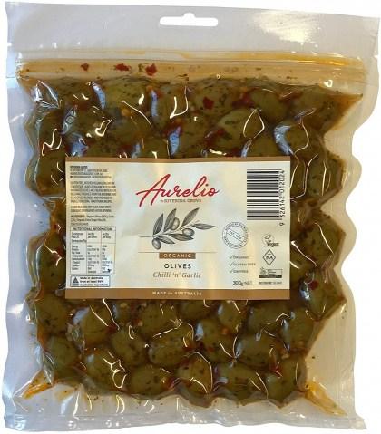 Aurelio Organic Garlic Olives  300g