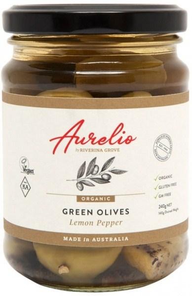 Aurelio Organic Green Olives Lemon Pepper  240g