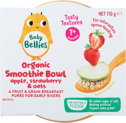 Baby Bellies Organic Smoothie Bowl Apple,Strawberry & Oats 110g