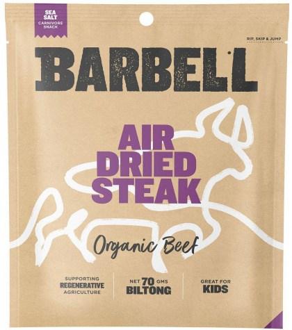 Barbell Burn Sea Salt Air Dried Steak Biltong Organic  70g