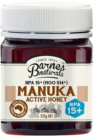 Barnes Naturals Active Manuka Honey NPA 15+ (MGO514+) 250g Jar