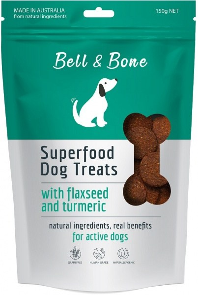 Bell & Bone Superfood Dog Treats with Flaxseed & Turmeric 150g