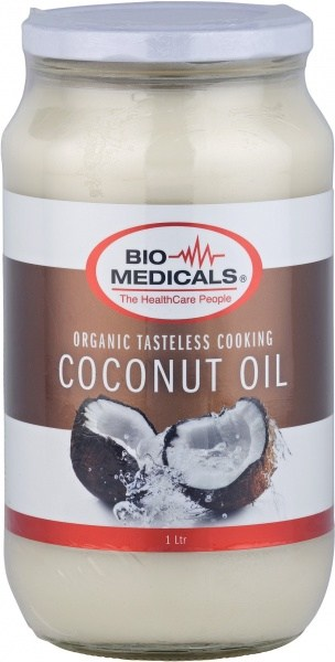 Bio-Medicals Organic Tasteless Cooking Coconut Oil Glass Jar 1L