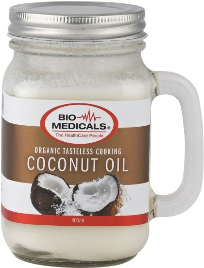 Bio-Medicals Organic Tasteless Cooking Coconut Oil Mason Glass Jar 400ml