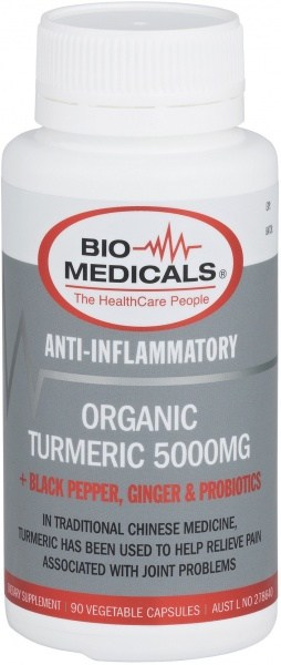 Bio-Medicals Organic Turmeric 5000mg + Black Pepper, Ginger & Probiotics 90Caps