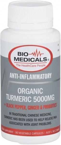 Bio-Medicals Organic Turmeric 5000mg + Black Pepper, Ginger & Probiotics 90Caps