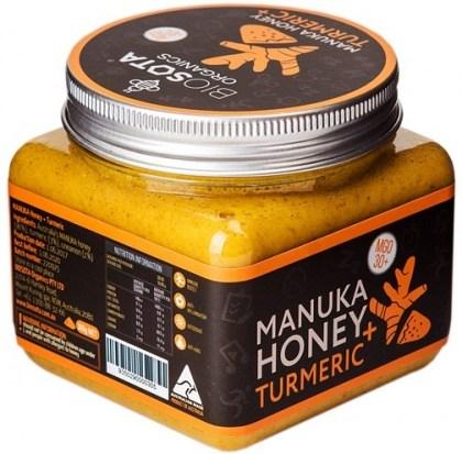 Biosota Organics Manuka Honey Jellybush MGO 30+ Turmeric, Cinnamon 300g