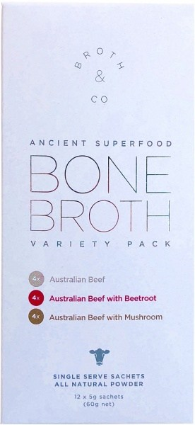 Broth & Co Grass Fed Beef Bone Broth Variety Pack 5g Sachets (Box of 12) 60g