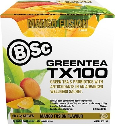 BSc Green Tea TX100 Mango Fusion 60x3g Serve Pack