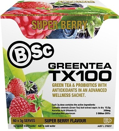 BSc Green Tea TX100 Superberry 60x3g Serve Pack