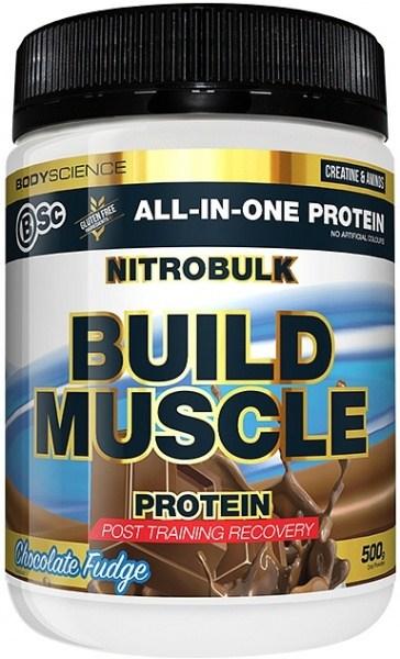 BSc Nitrobulk Build Muscle Protein Chocolate Fudge Powder 500g MAR23