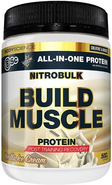 BSc Nitrobulk Build Muscle Protein Vanilla Ice Cream Powder 500g JUL22