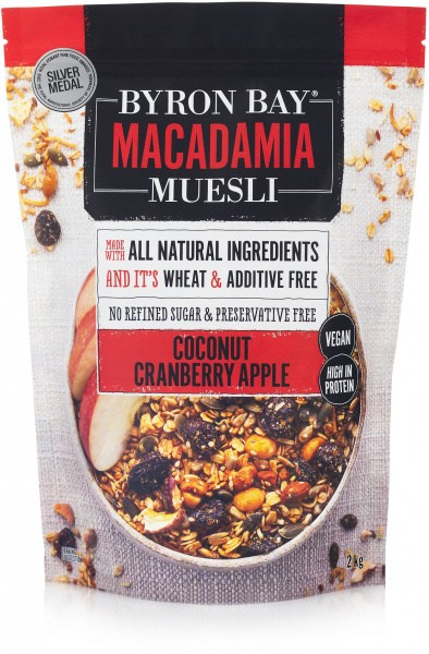 Byron Bay Macadamia Muesli Granola Coconut, Cranberry & Apple 2Kg