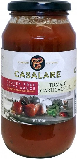 Casalare Pasta Sauce Tomato, Garlic and Chillie 500g