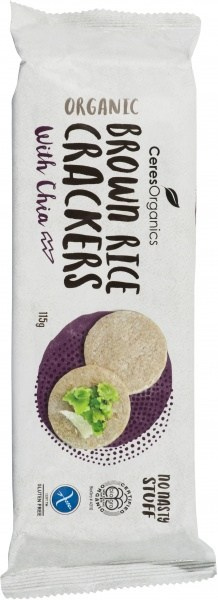 Ceres Organics Bio Brown Rice Crackers with Chia  115g
