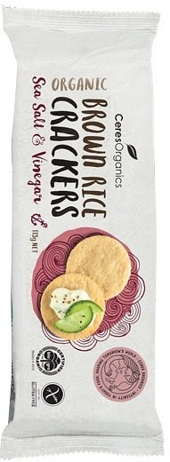 Ceres Organics Brown Rice Crackers Sea Salt & Vinegar  115g