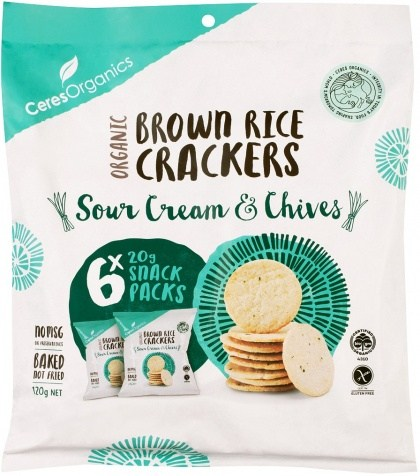 Ceres Organics Brown Rice Crackers Sour Cream & Chives Mutlipack 6x20g