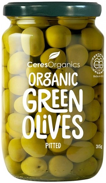 Ceres Organics Green Olives Pitted 315g