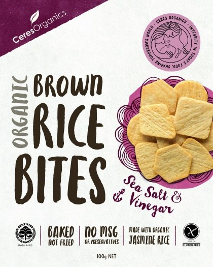 Ceres Organics Organic Brown Rice Bites Sea Salt & Vinegar  100g Box