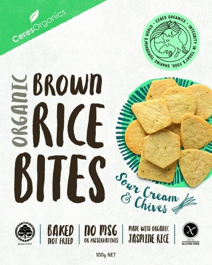 Ceres Organics Organic Brown Rice Bites Sour Cream & Chives  100g Box
