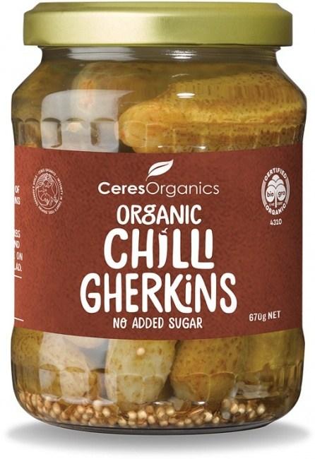 Ceres Organics Organic Chilli Gherkins NAS 670g