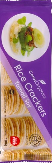 Ceres Organics Rice Crackers Tamari Soy 100g