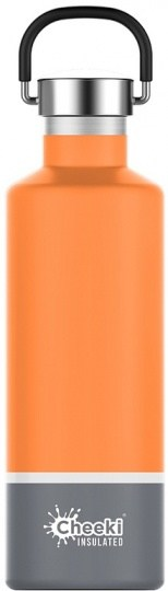 Cheeki Classic Stainless Steel Insulated Orange Grey Bottle 600ml