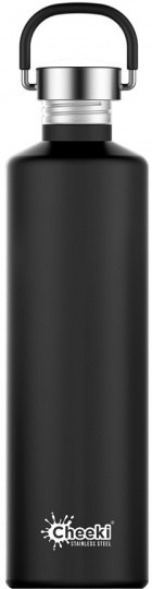 Cheeki Classic Stainless Steel Matte Black Bottle 1L