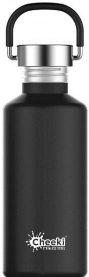 Cheeki Classic Stainless Steel Matte Black Bottle 500ml