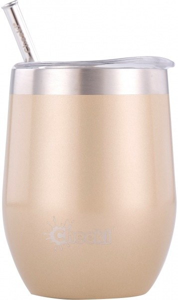 Cheeki Insulated Wine Tumbler with Straw Soft Gold 320ml