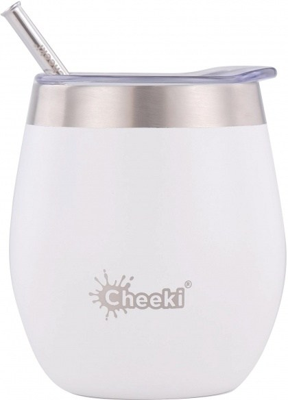Cheeki Insulated Wine Tumbler with Straw Spirit White 220ml