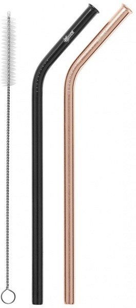 Cheeki Reusable S/S Straws Bent (Rose Gold, Black & Brush) 2Pack