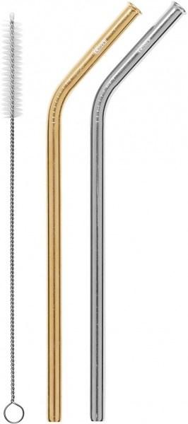 Cheeki Reusable S/S Straws Bent (Silver, Gold & Brush) 2Pack