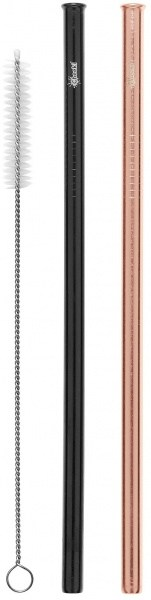 Cheeki Reusable S/S Straws Straight (Rose Gold, Black & Brush) 2Pack