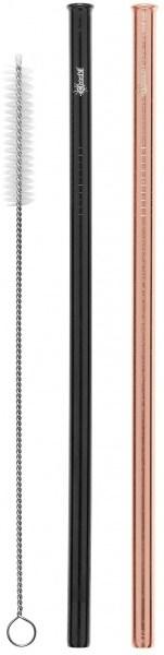 Cheeki Reusable S/S Straws Straight (Rose Gold, Black & Brush) 2Pack
