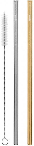 Cheeki Reusable S/S Straws Straight (Silver, Gold & Brush) 2Pack