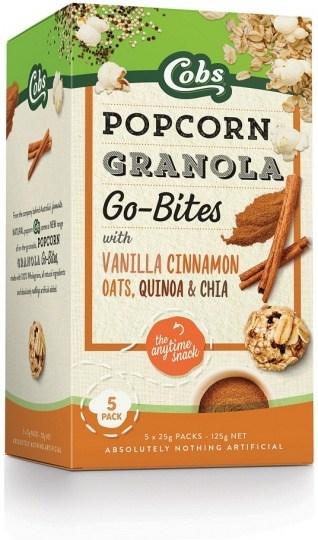 Cobs Granola Go-Bites Vanilla Cinnamon Popcorn (5Bags) 6x125g