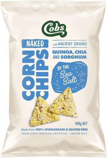 Cobs Naked Corn Chips By The Sea Salt  12x168g