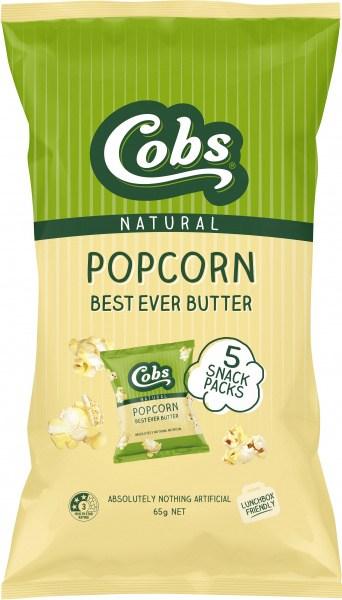 Cobs Natural Popcorn Multipack Best Ever Butter  (5Pk) 10x65g