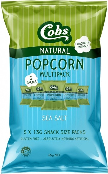 Cobs Natural Popcorn Multipack Sea Salt   (5Pk) 10x65g